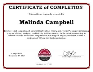 Another fact about me: I earned this Proofreading Certificate!
