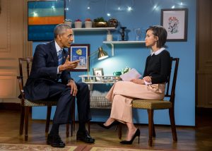 Obama being interviewed by Nilsen